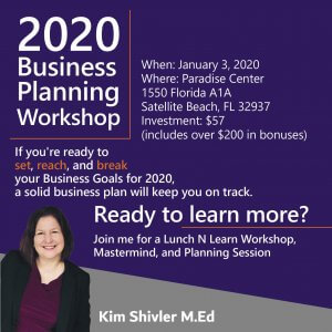 Picture of Kim Shivler with 2020 Business Planning Workshop Information